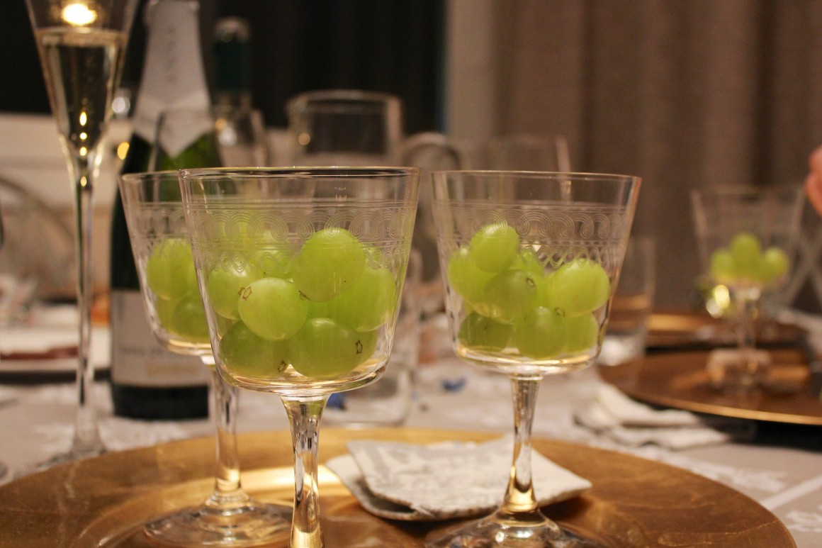Grapes at Midnight in Spain on New Year's Eve