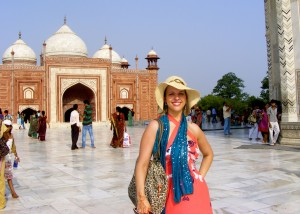 Standing in front of the Taj Mahal