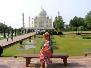 Sitting outside the Taj Mahal in Agra