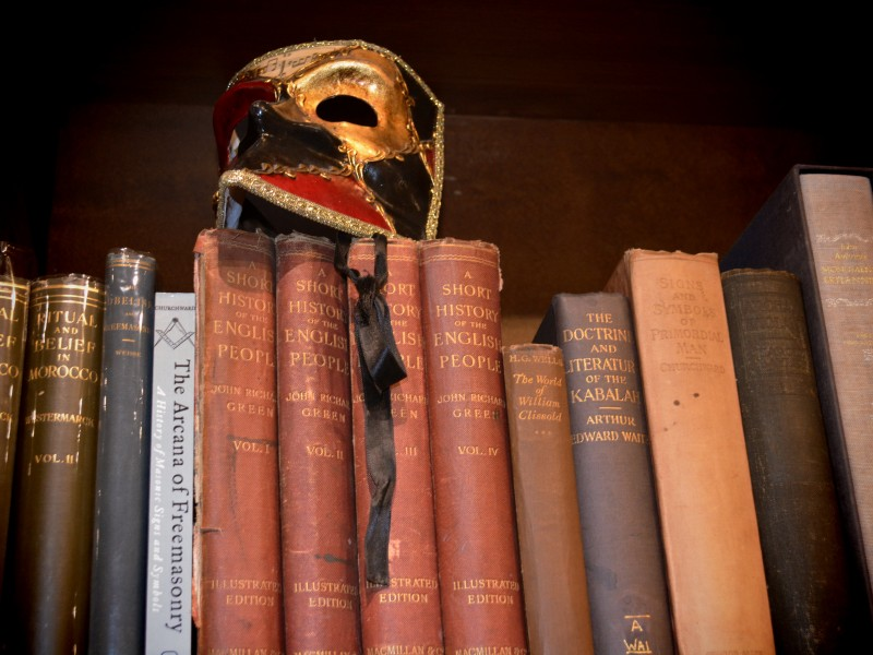 Treadwell's photo of mask and old books